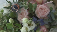 Wedding bouquet and rings. Decorative. Not contrasting Stock Footage