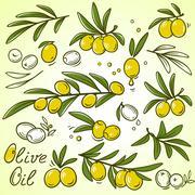 Olive icons set Stock Illustration