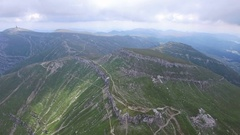 Aerial flight over mountain trails Stock Footage
