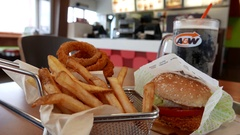 Motion of foods on table at A&W restaurant with 4k resolution Stock Footage