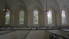 Church Pews | Colonial Style White | Epic Tracking shot  Stock Footage