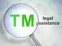 Law concept: Trademark and Legal Assistance with optical glass Stock Illustration