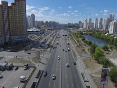 Aerial view summer avenue Kyiv Stock Footage
