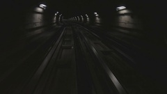 Metro subway of Turin Italy with dark tunnel and fast moving lights Stock Footage