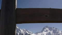 Motion with a wooden cross and projected over mountains Stock Footage