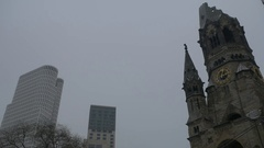 Germany, Berlin, Kaiser Wilhelm Memorial Church, January 8, 2017 Stock Footage
