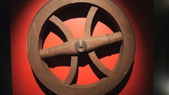 Wooden spooked cart wheel, medieval era Stock Footage