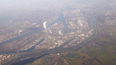 Rotterdam Harbor, Aerial shot from an airplane Stock Footage