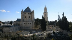 View of Dormition Abbey outside the walls of the Old City of Jerusalem, Israel Stock Footage