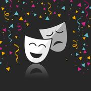 Masks with confetti and reflection Stock Illustration