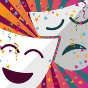 Carnival masks with confetti stars Stock Illustration
