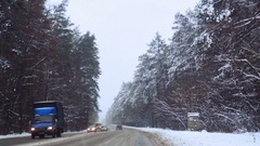 Heavy snow on the road Stock Footage