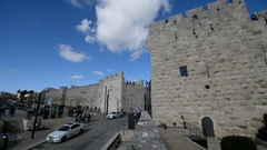 Street scene in the Jaffa gate in Jerusalem, Israel. Stock Footage