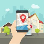 Mobile city map location, smartphone gps navigator town roadmap pin Piirros