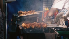 Roasted meat on the grill Stock Footage
