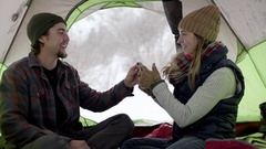 Cute Couple Take Turns Taking Photos Of Each Other Inside Camping Tent In Utah Stock Footage