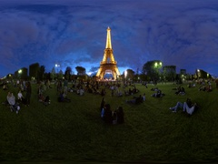 Eiffel Tower at night 360 video panorama. Tour eiffel, Etoile Stock Footage