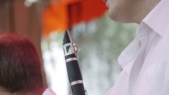Man play the flute Stock Footage