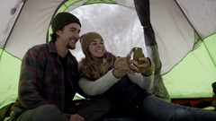 Couple Take Fun Selfies Together, Makes Silly Faces, Kisses Girlfriend On Cheek Stock Footage
