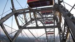 View through the cabin window Giant Ferris Wheel Vienna Prater Stock Footage