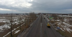 Aerial view heavy traffic of cars on road in winter urban city 4k Stock Footage