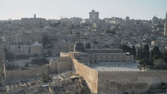 Dome of the Rock as viewed from the Mount of Olives, Jerusalem, Israel. Stock Footage
