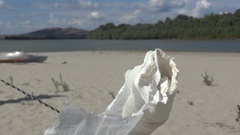 Roll of toilet paper waving in the wind caught on a stick at the edge of a sa Stock Footage