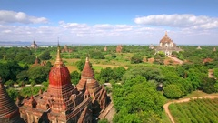 Bagan, Myanmar (Burma), Aerial View of Ancient Temples and Pagodas Stock Footage
