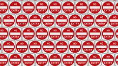 Tightly Packed Grid of Red and White No Entry Signs Stock Illustration