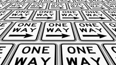 Neatly Ordered Grid of Right Pointing One Way Signs with Perspective Stock Illustration
