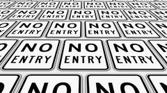 Neatly Ordered Grid of No Entry Traffic Signs Stretching Into the Distance Stock Illustration