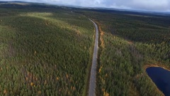 180 degree aerial view on Finnish forrest in autumn colors, near Kuusamo, F.. Stock Footage