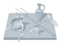 Set greece objects. Pot, Helmet, cup, trident, rod. Piirros