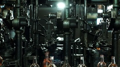 Production of glass bottles. Glass recycling. Molten glass. Stock Footage
