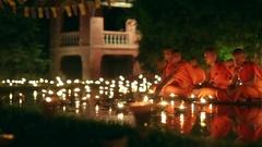 Asalha Bucha Day, Chiangmai, Thailand. Stock Footage