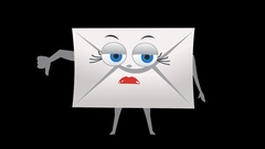 Letter Envelope. 2nd Pose Bad with Animated Face. Alpha Channel Stock Footage