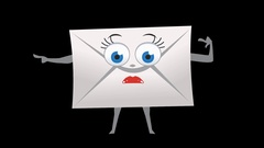 Letter Envelope. 12th Pose Left Bad Pointer with Animated Face. Alpha Stock Footage