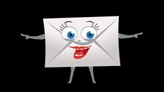 Letter Envelope. 13th Pose Pointer Double with Animated Face. Alpha Stock Footage