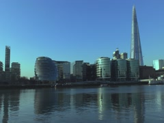 Office buildings along the River Thames. Stock Footage