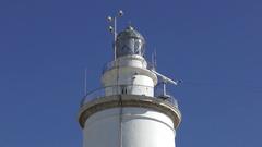 Lighthouse white deep blue sky movement Stock Footage