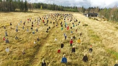 Aerial above the silent people field, in suomussalmi, Pohjois-Pohjanmaa. Stock Footage
