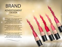Glamorous colorful lipstick set on the  sparkling effects backgr Stock Illustration