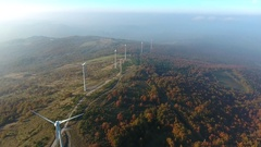 Aerial view of wind turbine blades Stock Footage