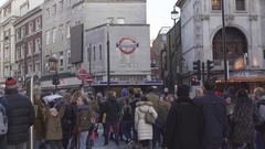 LONDON, UK. January 21, 2017. The junction of Charing Cross Road and Cranbourn Stock Footage