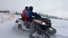 Group of people ride on the snowmobile Stock Footage