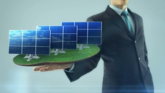 Business man has on hand green energy concept build animation solar panel Stock Footage
