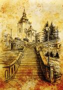 Church and staircaise, pencil drawing on paper, vintage effect Stock Illustration