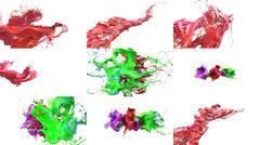 Inks splashes in white background 3d illustration set Stock Illustration