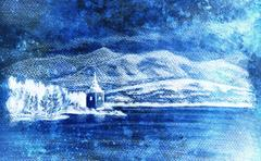 Landcsape scenery with lake, chapel and mountains, pencil drawing, magical color Stock Illustration