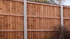 Wooden Fence Panels in Garden Stock Footage